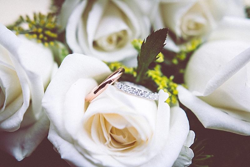 Picture of the wedding rings among some flowers